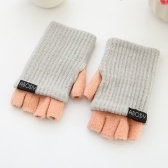 Abody Women Warm Knitted Gloves Half Finger Stretchy Arm Warmer Foldable Cuff Casual Fingerless Mittens