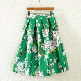 Neue Mode Frauen Rock Schmetterling Blumendruck A Line Zipper eleganten Rock grün/schwarz/weiss