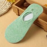 Neue Mode Frauen Socken süße Volltonfarbe Loafer Boot unsichtbar Liner Low-Cut-lässige Anti-Rutsch-Socken