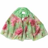 Nuovo chiffon delle donne sciarpa stampa floreale a contrasto lungo e sottile Pashmina scialle di seta Beach Cover Up