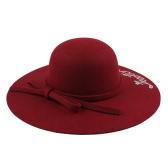 Women Wide Brim Fedora Hat Sequin Letter Cap Sun Hat Solid Sunbonnet Trilby Beach Chapéu de Panamá