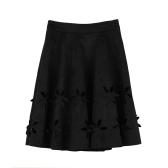 Neue Mode Frauen Faux Wildleder Rock hohlen Blume hohe Taille Plissee Marone Tutu Rock schwarz/Burgund/braun