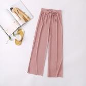 Pantalons à jambes larges pour femmes, taille haute et élastique, pantalon ample décontracté et décontracté