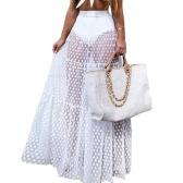Jupe longue en maille pour femmes Jupe transparente en tulle plissée à pois taille élastique Bikini Cover Up Jupe de bain