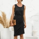 Women Sleeveless Dress Ruched Drawstring Slit Side Summer Tank Dress