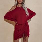 Femmes Automne À Manches Longues Mini Robe Chauve-Souris Cordon Épaule Évider Club Party Robe Décontractée