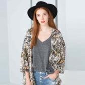 Summer Fashion Women Chiffon Kimono Floral Print 3/4 Sleeve Casual Loose Beach Cardigan Long Coat Blouse Green