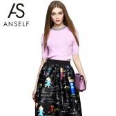 Neue elegante Frauen gestrickte Pullover Bead Strass halbe Sleeve Solid schlanke Strickwaren Pullover Jumper Tops Pink/weiß/blau
