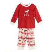 Nueva muchachos de las muchachas de los niños de dos piezas pijama de Navidad ropa para dormir o-cuello de las mangas capa ocasional de Casa de Niños Top pantalones rojos
