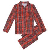 Famiglia Ragazzi Ragazzi Pajama Set Plaid Maniche lunghe Abiti da notte Abiti da casa Bambino Top pantaloni lunghi