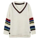 Neue Frauen gestrickte Pullover Kontrast Stripe Seite Schlitze V Neck High-Low Hem warmen Pullover Jumper Tops weiß
