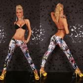 Europa moda mulheres Leggings Graffiti impressão cintura elástica elástica apertada calça Skinny Branca