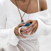 Mode Femmes Chandail tricoté Sexy Off Shoulder Cropped Top V Neck Flare Sleeve Loose Pullover Tricots Khaki / Blanc