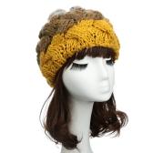 Moda mulheres bonito chapéu de malha Crochet coelho falso boina Beanie orelha malha protetores chapéus menina quente boné de pele