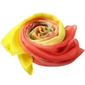 Neuer Frauen-Chiffon-Schal mit Blumenmuster Kontrast langer dünner Pashmina Silk Schal-Strand-Vertuschung-Gelb / Rose