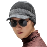 Men Knitted Baseball Hat Ribbed Color Block Outdoor Sport Hip Hop Casual Warm Winter Headwear Cap