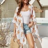Femmes Lâche Kimono Cardigan Ouvert Avant Floral/Léopard Imprimé Surdimensionné Boho Vacances Bikini Cover Ups Beachwear