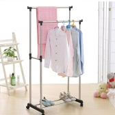 iKayaa Metal Adjustable Double Rail Clothes Garment Dress Hanging Rack Display Satnd Organizer on Wheels Shoes Rack Heavy-duty