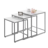 IKAYAA 3PCS Metal Frame Nesting Tables Set Living Room Couch Sofa Side End Coffee Table Ottoman Bedroom Night Stand Home Furniture