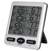 ЖК-цифровой 433MHz беспроводной 8-канальный Indoor / Outdoor Термогигрометр с тремя выносными датчиками термометр гигрометр Комфорт Уровень сигнала тревоги Функция