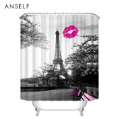 Bathroom Waterproof Polyester Fabric Bath Curtains 3D Red Lip/Red Maple/Butterfly Eiffel Tower Design 180*180cm/180*200cm Thickened Mouldproof Shower Curtain with 12 C  Ring Hooks