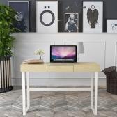 iKayaa現代の金属フレームコンピュータの机のテーブル引き出し付ホームオフィス勉強書斎デスクコンピュータワークステーションの家具120KG容量