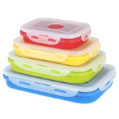 Anself 2017 Nouveau silicone pliable Lunchbox Portable Pliable Lunch Box repas Boîte avec couvercle Micro-ondes Box 600 + 400ml Eco-Friendly rétractable pique-nique Alimentation Fruits Container Bowl