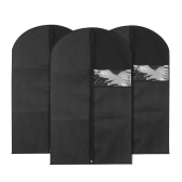 3pcs 60 * 100cm Non-Woven Dustproof Hanging Garment Bags Clothes Suit Organizers Covers with PVC Window Storage Bag for Closet Travel--Black