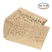 20pcs/set Wedding Invitation Card Cover Pearl Paper Laser Cut Hollow Heart Pattern Invitation Cards Wedding Anniversary Supplies--Gold
