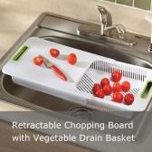 Tagliere retrattile multifunzione con cestello di scarico per verdure sul lavandino per frutta e verdura