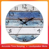 Wooden Round Wall Clock Home Living Room Bedroom Silent Vintage Design Wall Clock Simple Non-Ticking Decorative Clock