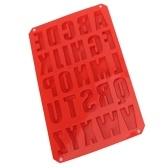 Molde rojo para hornear pudín de alfabeto de letras de silicona