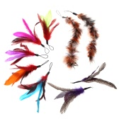 9PCS Luxury Colorful Natural Long Feather Pet Kitten Cat Teaser Cute Design Replacement Refill Feather for Cat Rod Wand