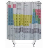 "Anself 180*180cm Periodic Table Pattern Shower Curtain Size 71""*71"" Water Resistant Bath Curtain with 12 C Ring Hook"