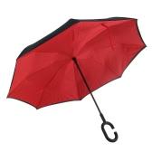 C-Ручка Перевернутый Обратный Перевернутый ветрозащитный дождь Зонт Double Layer наизнанку
