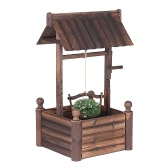 iKayaa Wooden Wishing Well Planter W/ Bucket Outdoor Home Decoration Fir Wood Raised Garden Bed