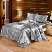 Seda-como conjunto de ropa de cama bien hecha de seda suave suave funda de edredón y juegos de fundas de almohadilla Niza textiles para el hogar