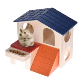 Hamster House Home Wooden Hideout Hut Cabin Two Layers Small Animal Pet Rat Mice Chinchilla Galesaur Playground Toy