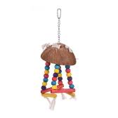 Farbe Vogel Barsch Papagei Hängen Schaukel Kauen Spielzeug Coco Holz Vogelkäfig Zubehör Spielzeug Stehen für Papageien