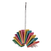 Colorful Parrot Chew Bite Climb Toy Wooden Ladder Ferris Wheel Hanging Toys Bird Cage Accessories for Parakeet Budgie Macaw Cockatoo