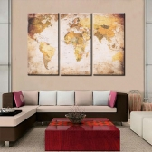 35 * 70cm HD impresso 3 painéis Frameless World Map Canvas Pintura Wall Art Pictures Decor para corredor Sala de estar Quarto