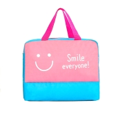 Wet Dry Separated Bags Handbag Large Capacity Storage Bag Waterproof Clothes Pouch for Beach Swimming Gym Spa Water Park Surfing Rafting (Pink Smile)
