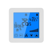 200-230V Condicionador de ar de termostato programável Controlador de temperatura de 2 tubos de 4 tubos Tela de toque LCD Condição de aquecimento de ar Controle de temperatura Sub-piso 3A 7-Day Programação de 4 períodos Luz de fundo Branco