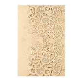 Wedding Invitation Card Cover Pearl Paper Laser Cut Hollow Heart Pattern Invitation Cards Wedding Anniversary Supplies--Gold