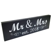 Mr & Mrs 2018 Sign Woodheart Decoración de la pared de la mesa para el aniversario de boda Photo Props Party Banner