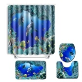 4 unids / set Azul Océano Delfín Patrón Impreso Cuarto de Baño Decoración Cortina De Ducha resistente al agua