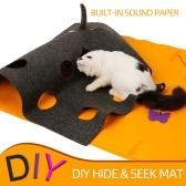 Tappetino da gioco feltro fai-da-te Fai-da-te Nascondi e cerca tappeti con fori Resistente ai graffi e pieghevoli per gatti