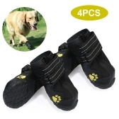 Dog Shoes Boots Waterproof Shoes for Dogs with Reflective Strap Rugged Anti-Slip Sole Pet Paw Protectors 4 PCS