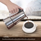 2 tazas de 100 ml de acero inoxidable Estufa de espresso Percolator Espresso Maker Pot Stoven