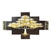 Árvore de ouro 5 peças abstratas Pinturas a óleo Floral pintados à mão